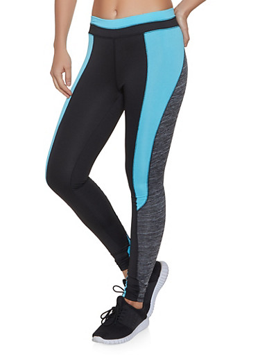 Color Block Active Leggings,TURQUOISE,large