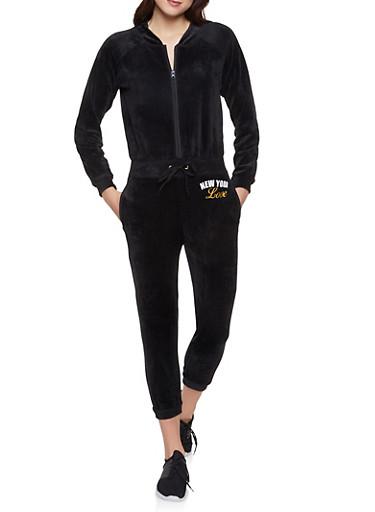 New York Love Graphic Velour Jumpsuit,BLACK,large