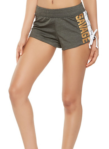 Graphic Lace Up Active Shorts,CHARCOAL,large