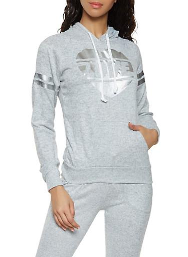 Foil Love Graphic Sweatshirt,HEATHER,large