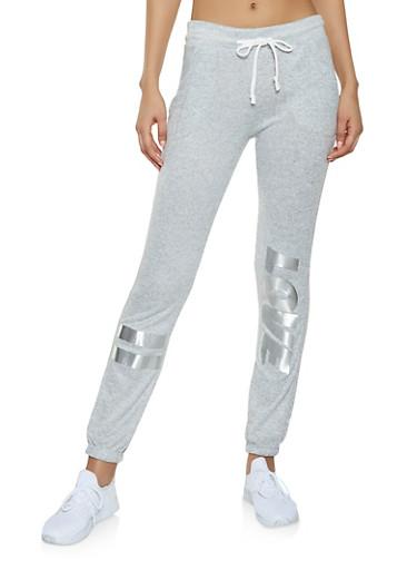 Foil Love Graphic Sweatpants,HEATHER,large