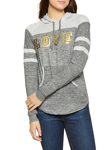 Love Foil Graphic Knit Sweatshirt,CHARCOAL,large
