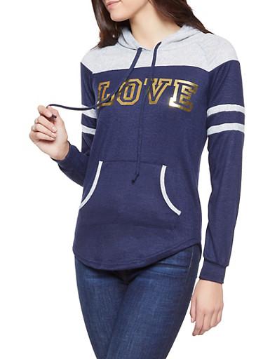 Love Foil Graphic Knit Sweatshirt,HEATHER,large