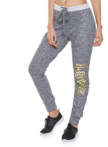 Love Foil Graphic Sweatpants,CHARCOAL,large