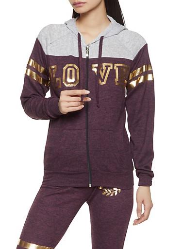 Love Graphic Knit Sweatshirt,WINE,large