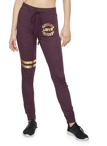 Love Graphic Joggers,WINE,large