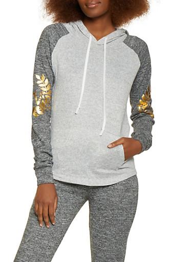 Love Crest Foil Graphic Sweatshirt,CHARCOAL,large