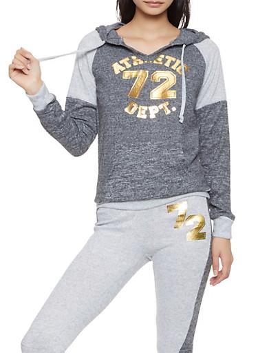 Athletic Dept Graphic Knit Sweatshirt,CHARCOAL,large