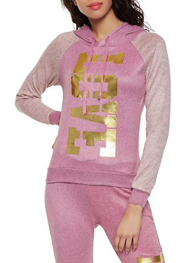 Love Graphic Pullover Sweatshirt,BLUSH,large