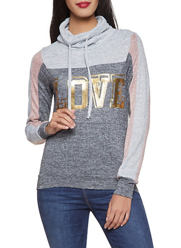 Love Color Block Knit Sweatshirt,CHARCOAL,large