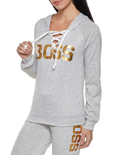 Boss Graphic Lace Up Sweatshirt,HEATHER,large