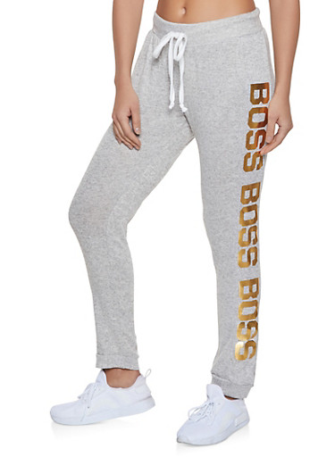 Boss Graphic Sweatpants,HEATHER,large