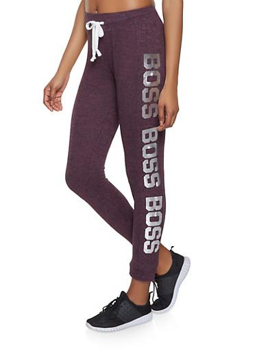 Boss Graphic Sweatpants,WINE,large