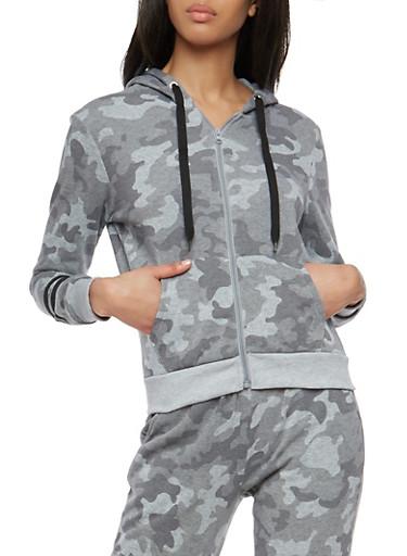 Graphic Camo Hooded Zip Up Sweatshirt,SAGE,large