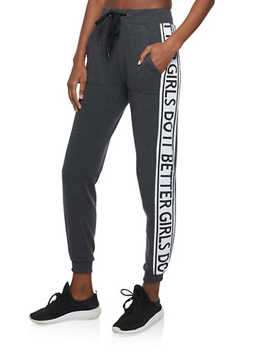Girls Do It Better Graphic Sweatpants,CHARCOAL,large