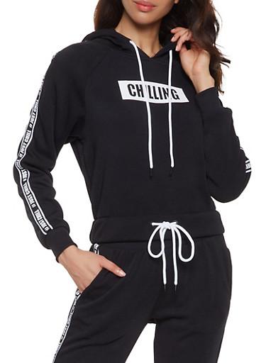 Just Chill Graphic Tape Sweatshirt,BLACK,large