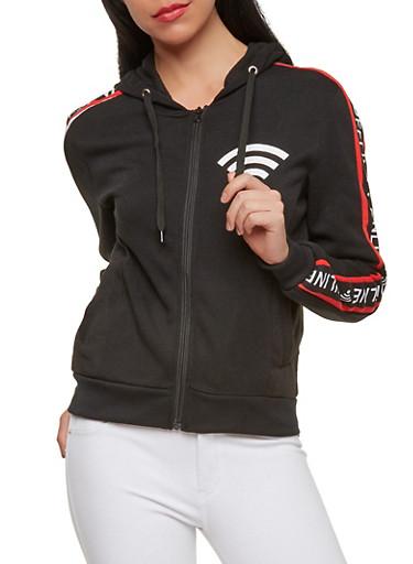 Online Offline Graphic Zip Front Sweatshirt,BLACK,large
