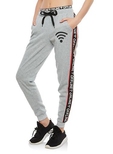 Online Offline Graphic Sweatpants,HEATHER,large