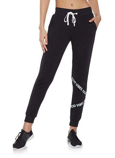 Good Vibes Graphic Tape Sweatpants,BLACK,large