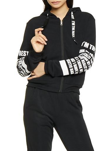 Graphic Sleeve Zip Front Sweatshirt,BLACK,large