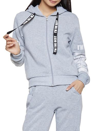 Graphic Sleeve Zip Front Sweatshirt,GRAY,large