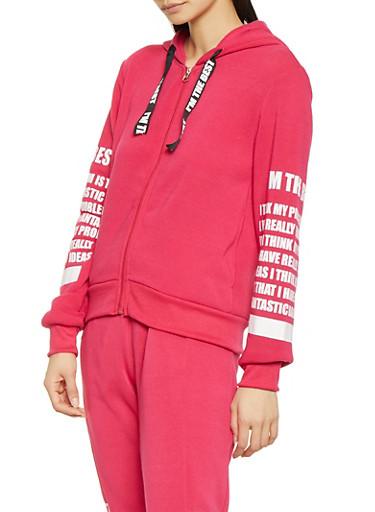 Graphic Sleeve Zip Front Sweatshirt,FUCHSIA,large