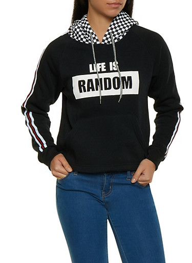 Life is Random Graphic Sweatshirt,BLACK,large