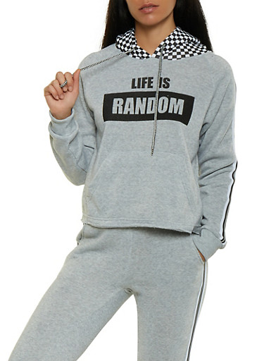 Life is Random Graphic Sweatshirt,GRAY,large