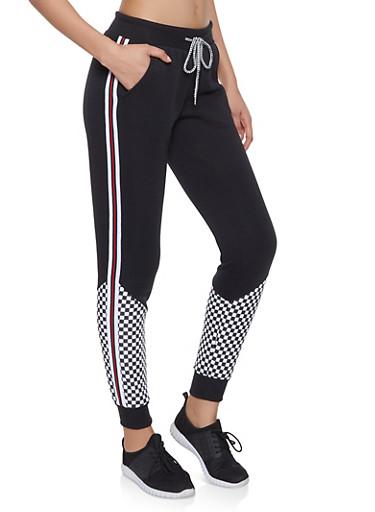 Checkered Detail Sweatpants,BLACK,large