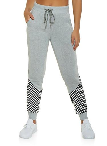 Checkered Detail Sweatpants,GRAY,large