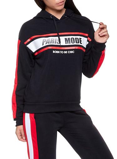 Paris Mode Graphic Hooded Sweatshirt,BLACK,large