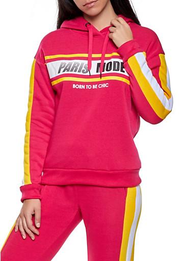Paris Mode Graphic Hooded Sweatshirt,FUCHSIA,large
