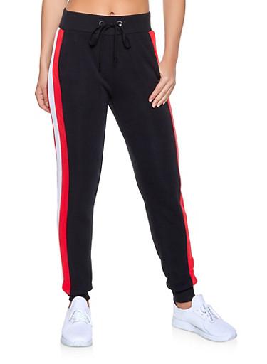 Striped Side Sweatpants,BLACK,large