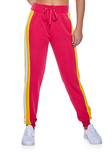 Striped Side Sweatpants,FUCHSIA,large