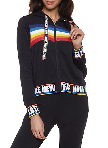 Now is the New Later Graphic Sweatshirt,BLACK,large