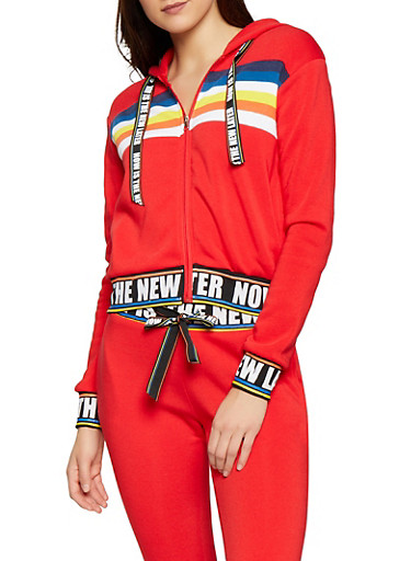 Now is the New Later Graphic Sweatshirt,RED,large