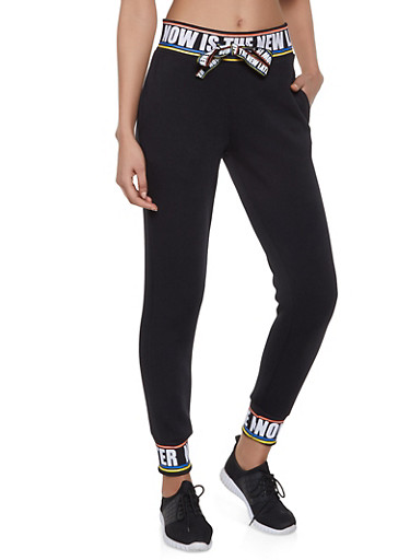 Now is the New Later Graphic Sweatpants,BLACK,large