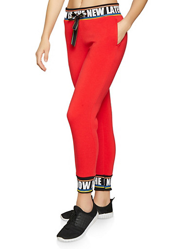 Now is the New Later Graphic Sweatpants,RED,large