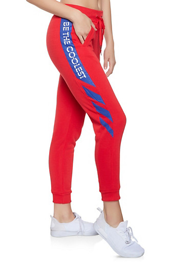 Be the Coolest Graphic Sweatpants,RED,large