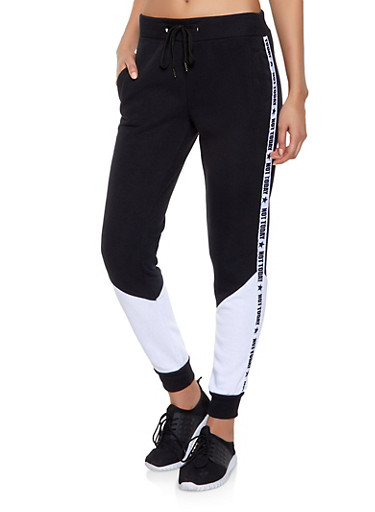 Not Today Graphic Sweatpants,BLACK/WHITE,large
