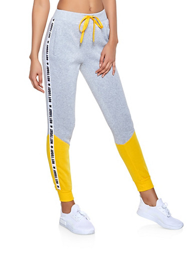 Not Today Graphic Sweatpants,MUSTARD,large