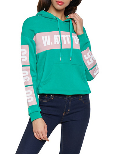 With Attitude Graphic Hooded Sweatshirt,HUNTER,large