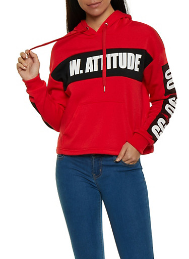 With Attitude Graphic Hooded Sweatshirt,RED,large