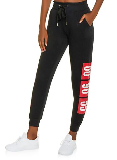 00 90 55 Graphic Fleece Lined Sweatpants,BLACK,large
