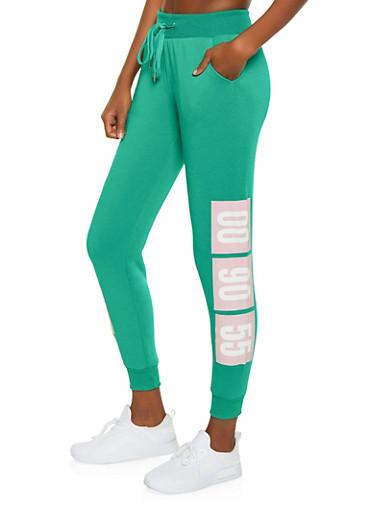 00 90 55 Graphic Fleece Lined Sweatpants,HUNTER,large