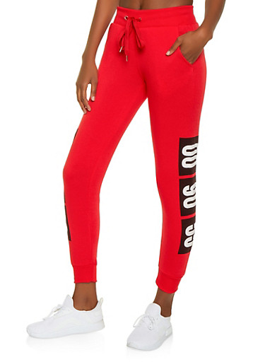 00 90 55 Graphic Fleece Lined Sweatpants,RED,large