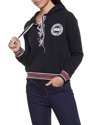 Graphic Ribbon Lace Up Sweatshirt,BLACK,large