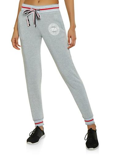 Graphic Drawstring Ribbon Sweatpants,GRAY,large