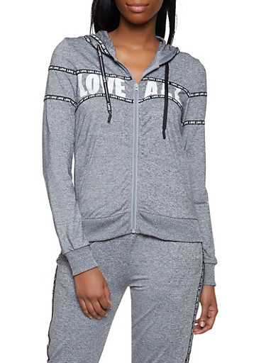 Love All Graphic Activewear Sweatshirt,GRAY,large