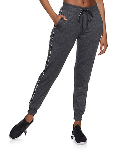 Love Varsity Stripe Tape Activewear Joggers,CHARCOAL,large